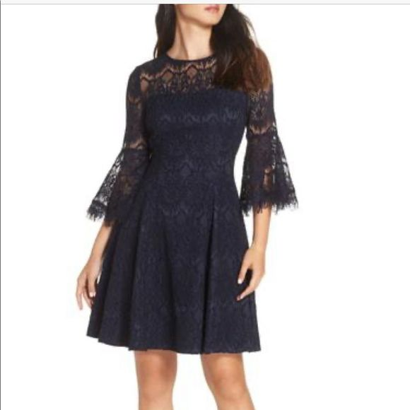Eliza J Navy Blue bell sleeve fit and flare dress
